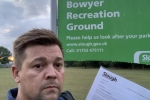 Lee Pettman with Letter at Bowyer Rec Slough
